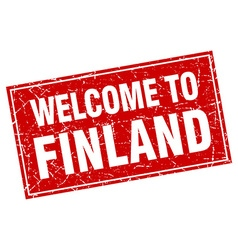 Finland red square grunge welcome to stamp vector
