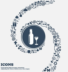 Bottle of wine and glass sign icon in the center vector