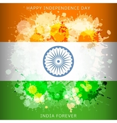 India independence day flag with paint spots vector