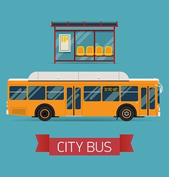 City bus and shelter icon vector