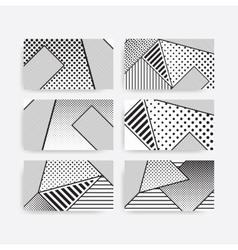 Black and white pop art geometric pattern set vector