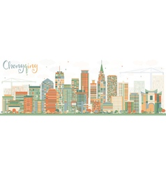 Abstract Chongqing Skyline with Color Buildings vector image vector image