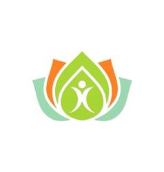 beauty health people lotus flower color logo vector image