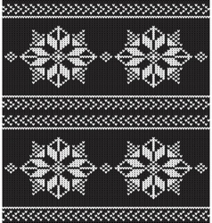 black and white knitted background vector image vector image