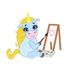 cartoon light blue lovely unicorn painting on vector image vector image