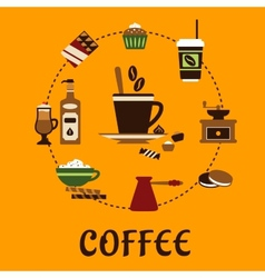 Coffee drinks and desserts flat icons vector