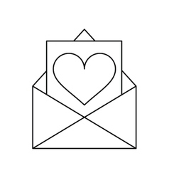 Envelope with valentine day heart outline vector