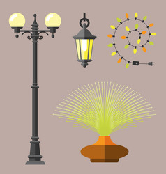 flat electric lantern city lamp street urban vector image