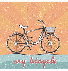 Grunge retro of bicycle vector