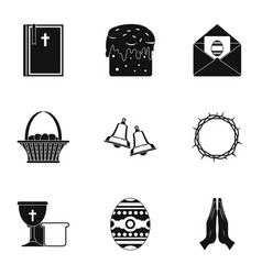 happy easter icon set simple style vector image vector image