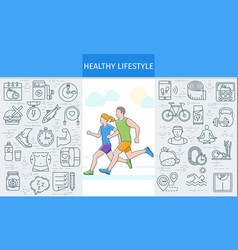 Healthy lifestyle banner2 vector