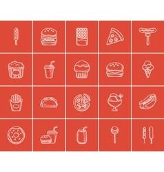 Junk food sketch icon set vector
