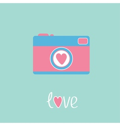 Photo camera with heart love card vector