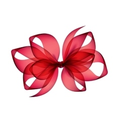 Red scarlet transparent bow top view on background vector
