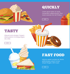 three horizontal banners of fast food vector image vector image
