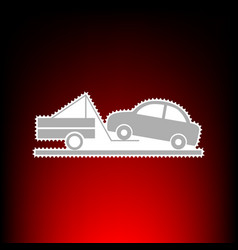 Tow truck sign postage stamp or old photo style vector