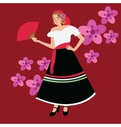 Traditional spanish spain costume iypsy girl woman vector