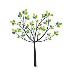 Tree with green trees vector