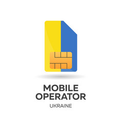 Ukraine mobile operator sim card with flag vector