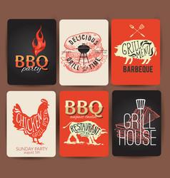 Vintage bbq set banner- eps10 grunge vector