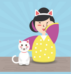 Woman with kimono and cat and costume hat vector