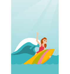 Young caucasian surfer in action on a surfboard vector