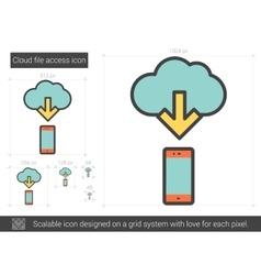 Cloud file access line icon vector