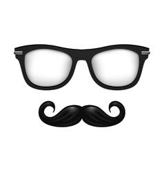 Realistic glasses and mustache in black vector