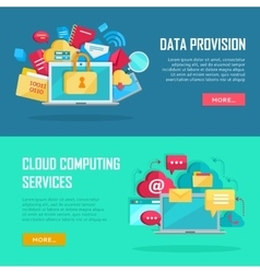Data provision cloud computing services banners vector