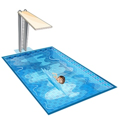 A swimming pool with a young boy vector image
