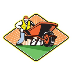 Gardener pushing wheelbarrow retro vector