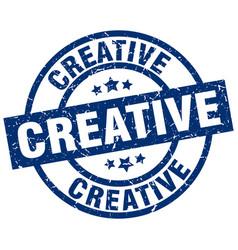 Creative blue round grunge stamp vector