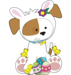 Cute puppy easter vector