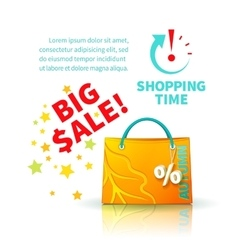 Bright yellow shopping bag vector