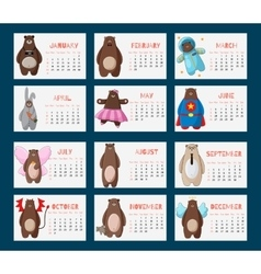 Calendar 2016 with funny cartoon hipster bears vector
