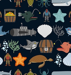 Ocean seamless pattern ocean inhabitants starfish vector