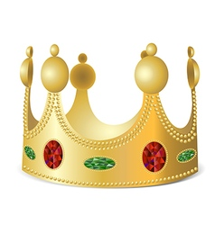 Gold crown with gems vector