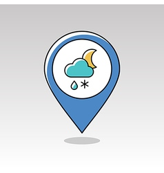 Cloud snow rain moon pin map icon weather vector