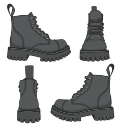 Set of drawings with black boots isolated objects vector