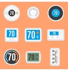 Flat thermostats set vector