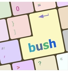 Bush word icon on laptop keyboard keys vector