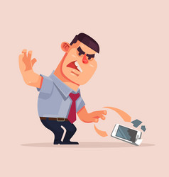 angry unhappy businessman character vector image vector image