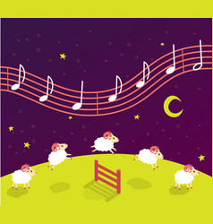 Baby song lullaby before bedtime lambs jump over vector