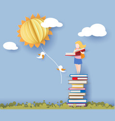 back to school card with girl books and sun vector image vector image