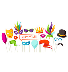 carnival photo booth props accessories for vector image vector image
