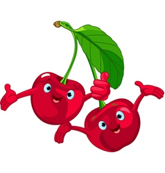 cartoon cherries character vector image vector image