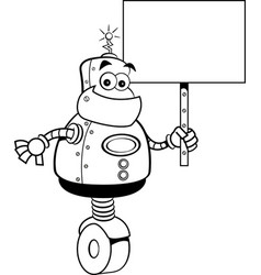 Cartoon robot holding a sign vector