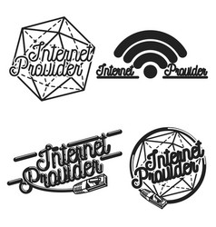 Color vintage internet provider emblems vector
