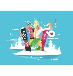 Couple snowboarders boy and girl vector image