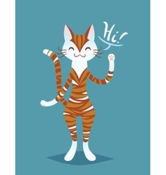 Cute smiling ginger striped cat lady say hi vector